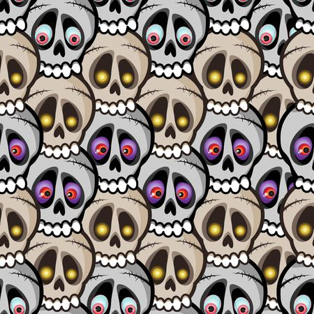 Dense vector seamless pattern of beige and gray skulls arranged in waves with the eyes of monsters