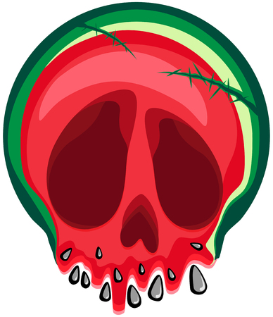 Vector of a watermelon skull with strewing seeds. On a transparent background. For your design