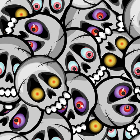 Multilayer vector seamless pattern. Skulls with different eyes