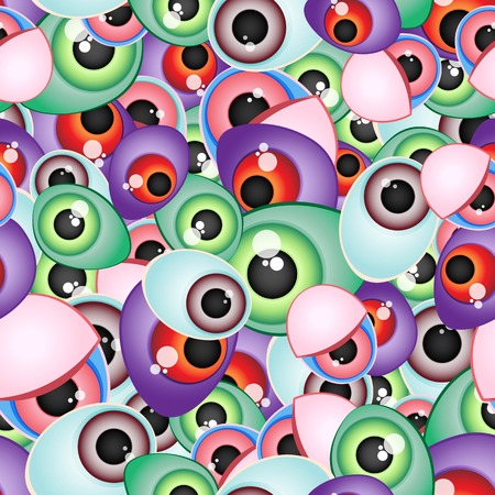 multi layered: Funny multi-layered vector seamless pattern from different monster eyes. For your design