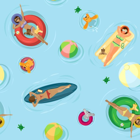 Summer vector seamless pattern. Girls with dogs swim and sunbathe on an inflatable mattress, surfboard and inflatable circles. On a light blue background with beach balls Vettoriali