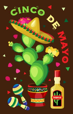 Vector poster on the holiday of Cinco de Mayo. Cactus in sombrero with bottle of tequila and maracas on a brown background with petals and confetti.