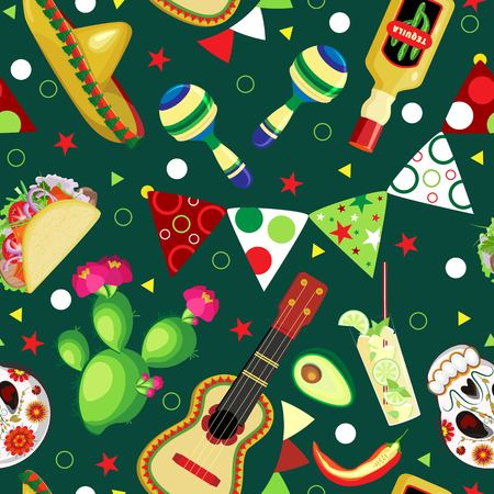 Vector seamless pattern on the holidays of Cinco de Mayo. Symbols of the Mexican holiday Vettoriali