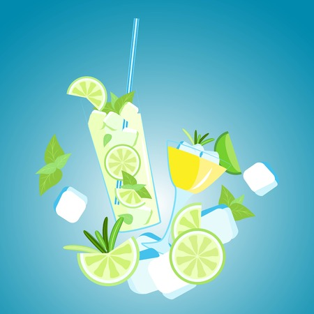 Vector composition of mojito and martini with ice cubes and lime