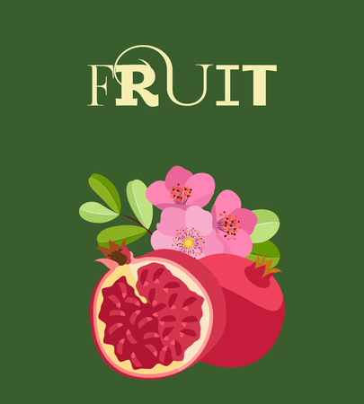 Fruit composition of fresh colored whole pomegranates and halves with leaves. On a dark green background