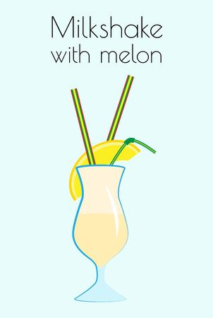 Milkshake with pulp and a slice of melon. Vector illustration on a light blue background with the name.