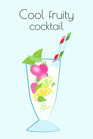 Cool fruity cocktail with cocktail tubes in a tall glass. Vector illustration on a light blue background with the name.