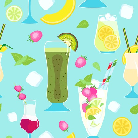 Vector seamless pattern of non-alcoholic fruit cocktails. Blue background with ice cubes and fruits Vettoriali