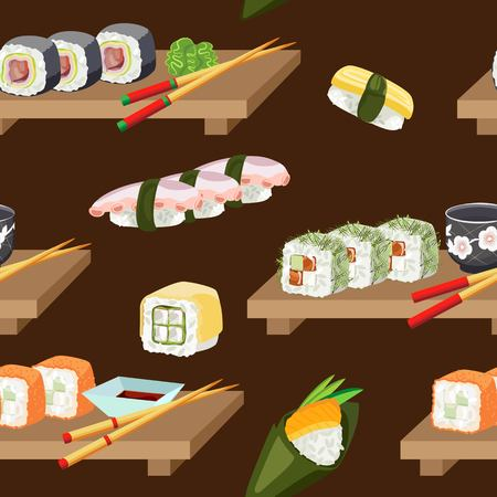Vector seamless pattern of isolated sushi and sushi on a ghee platter. On a dark brown background