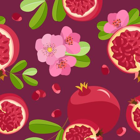 Vector seamless pattern of pomegranates, flowers and halves of pomegranate. On a claret background with pomegranate seeds