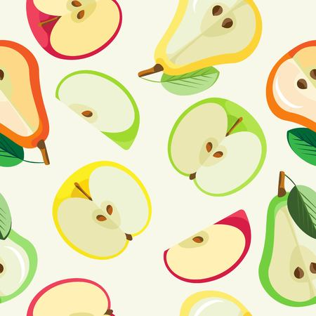 Vector seamless pattern of halves of colored apples and colored pears and slivers of green apples Vettoriali