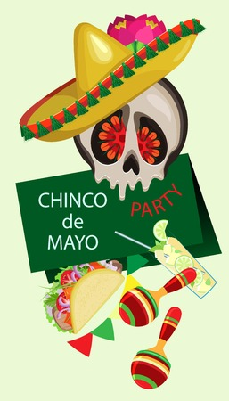 Vector poster on the holiday of Cinco de Mayo. A skull in a sombrero and an open invitation with strewing festive attributes. Vettoriali