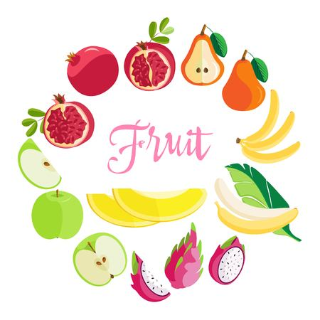 Set of vector delicious colorful fruits in a flat design, isolated on a transparent background. Vettoriali