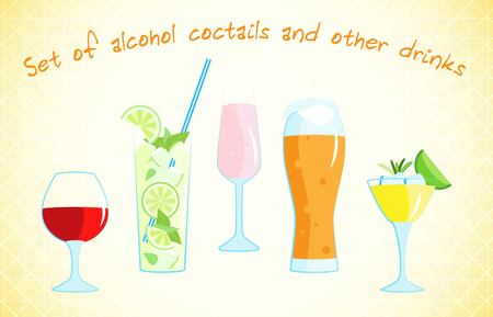 Vector set of alcoholic drinks in a flat style.
