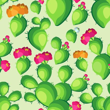 Color vector seamless pattern of blooming cactus