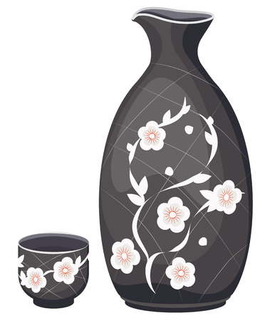Vector set for sake of a jug and a cup. On a transparent background Vettoriali