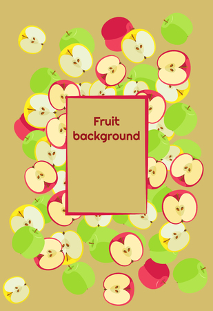 Fruit background of fresh colored whole apples and halves with a frame for text
