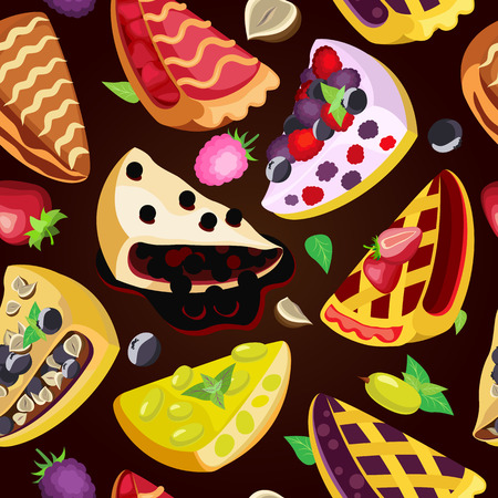 Vector seamless pattern of pieces of different fruit pies on a chocolate background Vettoriali