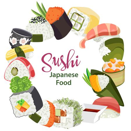 Vector set of sushi in the form of a wreath. On a transparent background Vettoriali