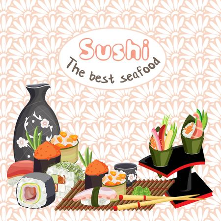 Vector illustration of a sushi on a mat and a jug with a cup for sake. On a floral background with a medallion with an inscription.