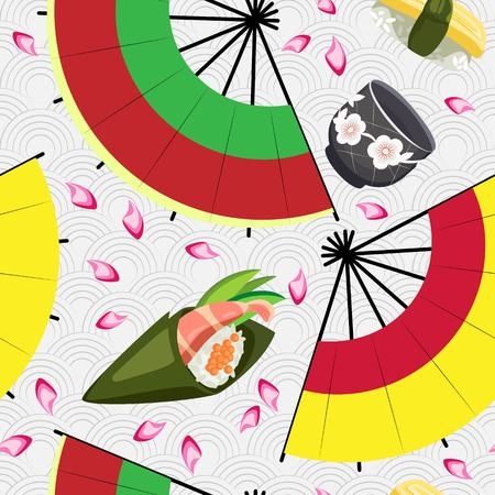 Vector seamless pattern of sushi, cup for sake and fans on a Japanese background Vettoriali