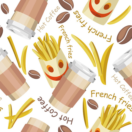 Vector seamless pattern of french fries and cups with coffee. On a white background