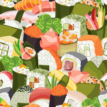 Dense vector seamless pattern from a variety of sushi Vettoriali