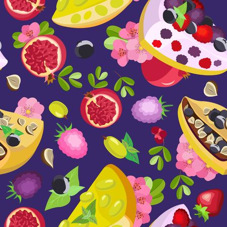 Vector seamless pattern of pieces of three kinds of pies on a dark purple background with fruits Vettoriali