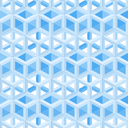 Abstract vector seamless pattern of hexagons in blue tones. Filled and not filled hexagons on a white background