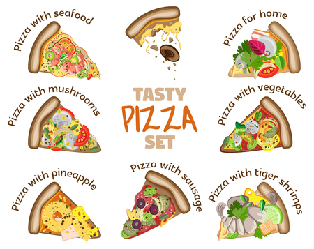 Set of 8 pieces of pizza with names and different fillings on a transparent background. Can be used for menus, banners, flyers and other advertising printing Vettoriali