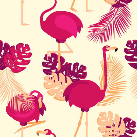 Vector seamless pattern. pink flamingos in different poses in tropical leaves on a beige background