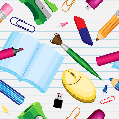 Vector seamless pattern of school supplies on a background of a sheet of a sheet in a stitch