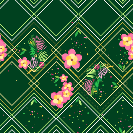 Tropical leaves and flowers and rhombuses on a dark green background. Vector seamless pattern
