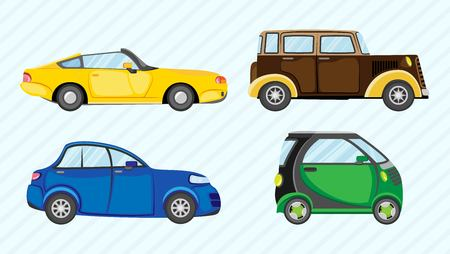 Vector set of multicolored different cars Vettoriali