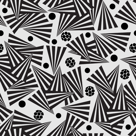 Black and white seamless pattern of striped triangles Vettoriali