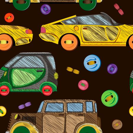 Vector seamless pattern of embroidered retro cars and sewn buttons on a dark brown background