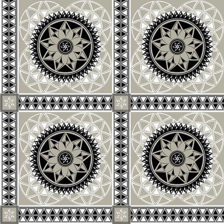 Tiled vector seamless pattern three-colored stylized arabic ornament in black gray white