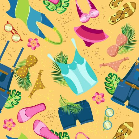 Vector seamless pattern of bright beach clothes on a sand background with tropical leaves