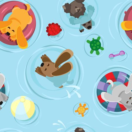 Vector seamless pattern of a dog float on inflatable circles bathing dogs with toys in the pool with toys in the pool