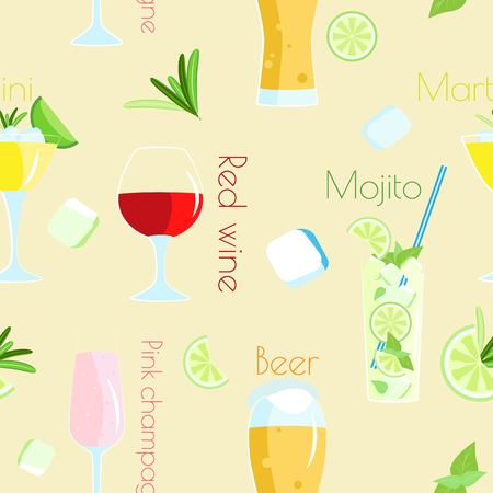 Vector seamless pattern of alcoholic cocktails and beverages. Beige background with ice cubes and lime