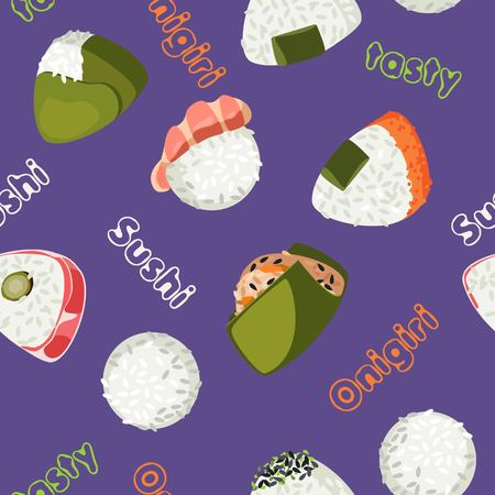 Vector seamless pattern of sushi onigiri violet background