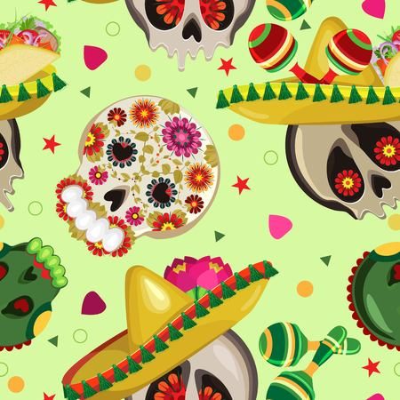 Vector seamless pattern on the holidays of Cinco de Mayo and  Day of the Dead. Symbols of the Mexican holiday.Painted skulls in sombrero with tacos and maracas. Pastel green background Vettoriali