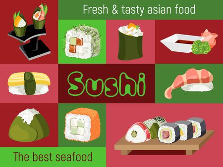 Vector illustration of a variety of Japanese sushi and compositions of them against the background of multi-colored dice