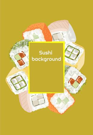 Sushi background of fresh colored different Rolls with a frame for text Illustration