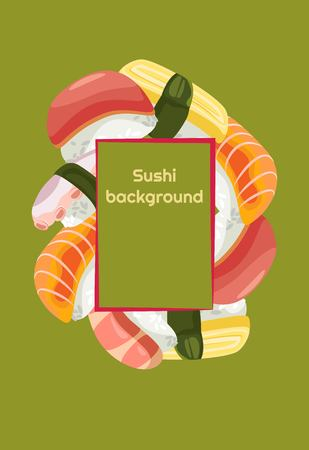 Sushi background of fresh colored different Nigiri with a frame for text
