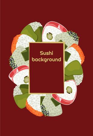 Sushi background of fresh colored different Onigiri with a frame for text Vettoriali