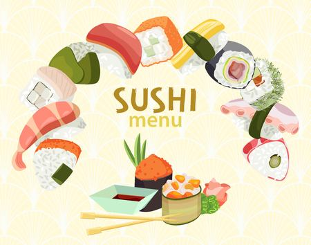 Vector sushi menu for a restaurant or bar on a background of Japanese orament Vettoriali
