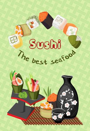 Vector composition of various sushi and rolls, as well as racks with a tarpaulin, a jug with a cup for sake and rolls on a bamboo mat. On a pastel green background with a braid. Vettoriali
