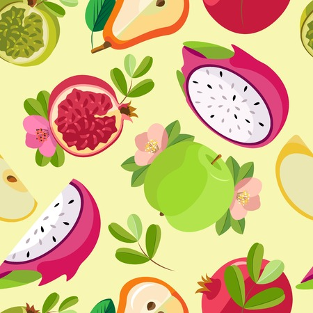 Vector seamless pattern of halves and pieces of various fruits. Pastel lemon background.  イラスト・ベクター素材