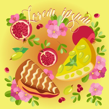 Vector image with slices of pomegranate pie and pie grape and fruit on a yellow-orange gradient background Vettoriali